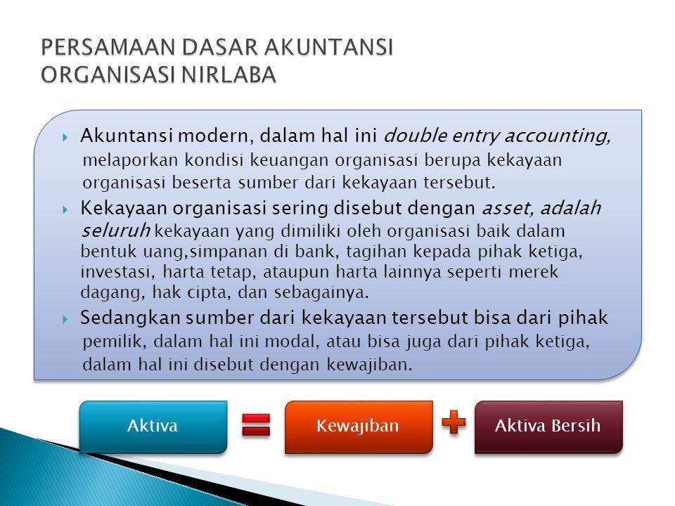  Akuntansi modern, dalam hal ini double entry accounting, melaporkan kondisi keuangan organisasi berupa kekayaan organisasi beserta sumber dari kekay
