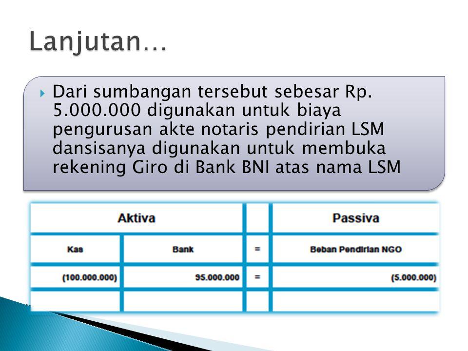 Dari sumbangan tersebut sebesar Rp. 5.000.000 digunakan untuk biaya pengurusan akte notaris pendirian LSM dansisanya digunakan untuk membuka rekenin