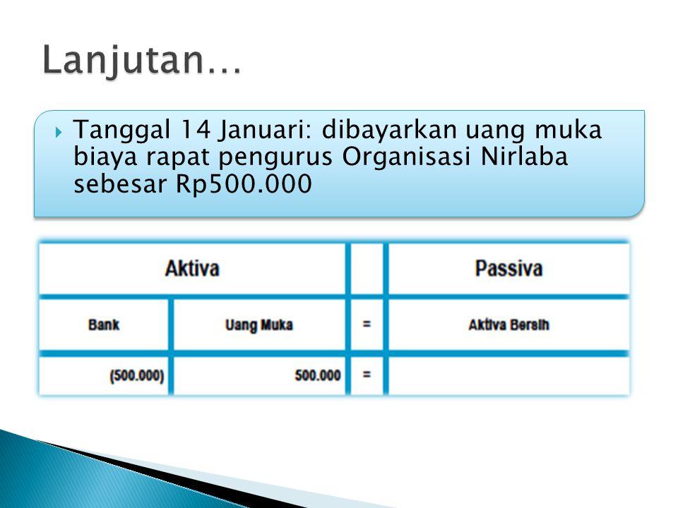  Tanggal 14 Januari: dibayarkan uang muka biaya rapat pengurus Organisasi Nirlaba sebesar Rp500.000