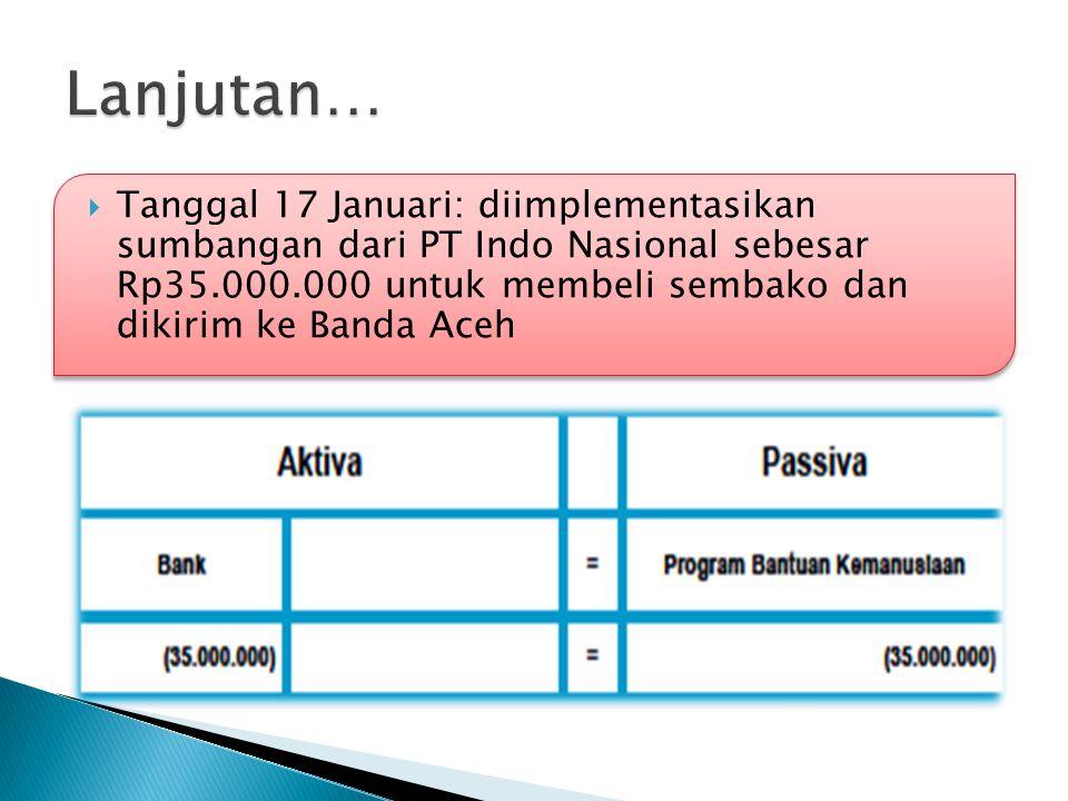  Tanggal 17 Januari: diimplementasikan sumbangan dari PT Indo Nasional sebesar Rp35.000.000 untuk membeli sembako dan dikirim ke Banda Aceh