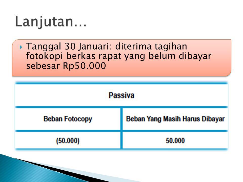  Tanggal 30 Januari: diterima tagihan fotokopi berkas rapat yang belum dibayar sebesar Rp50.000