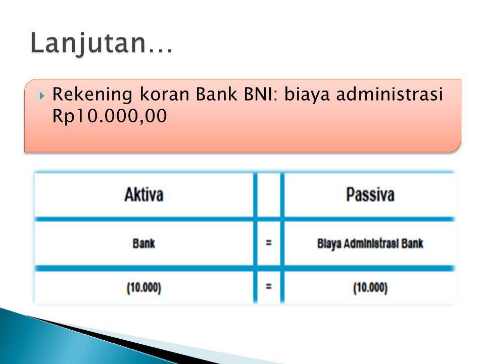  Rekening koran Bank BNI: biaya administrasi Rp10.000,00