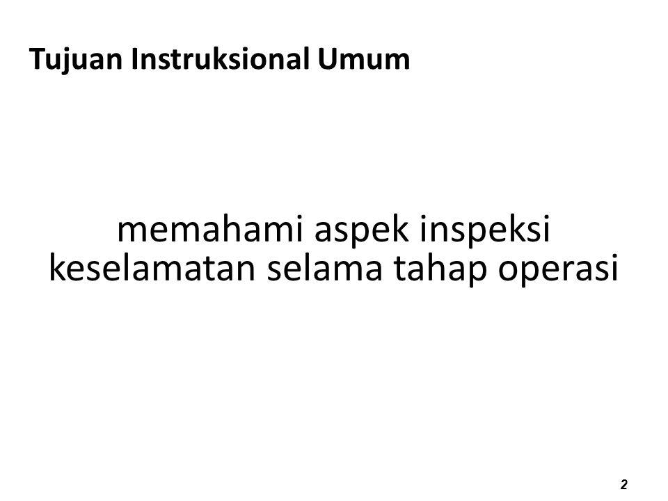 11/05/10 Tujuan Instruksional Umum 2 memahami aspek inspeksi keselamatan selama tahap operasi