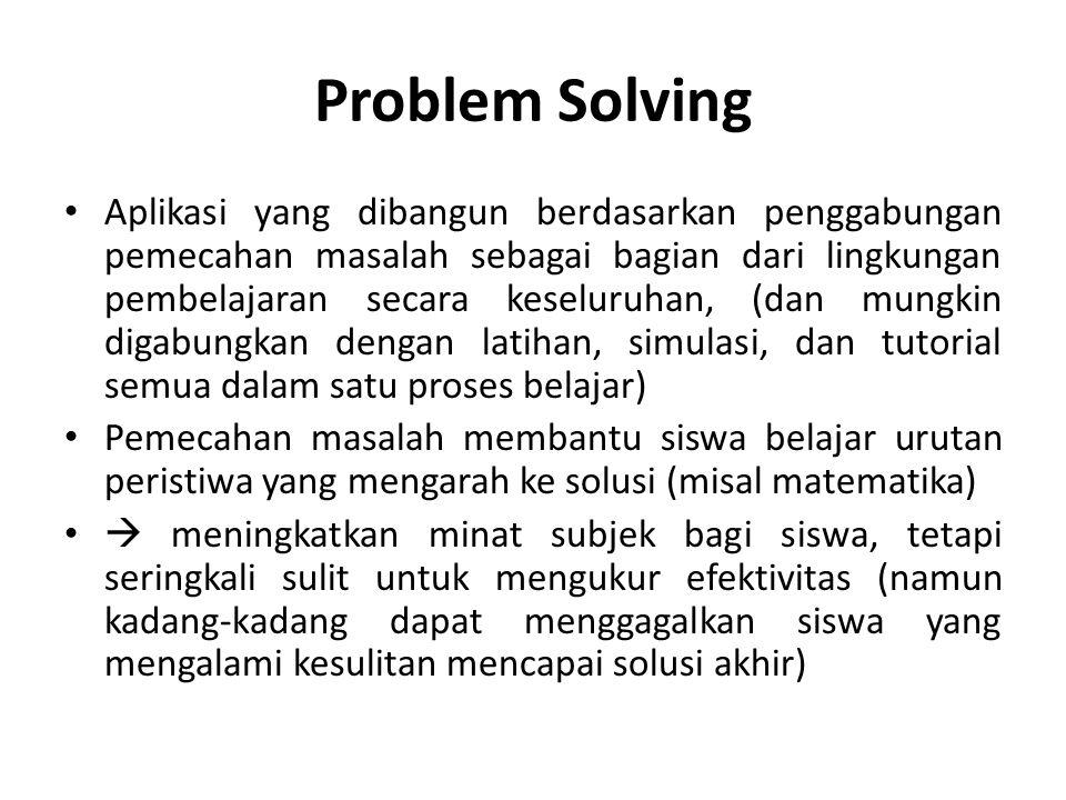 Problem Solving Aplikasi yang dibangun berdasarkan penggabungan pemecahan masalah sebagai bagian dari lingkungan pembelajaran secara keseluruhan, (dan