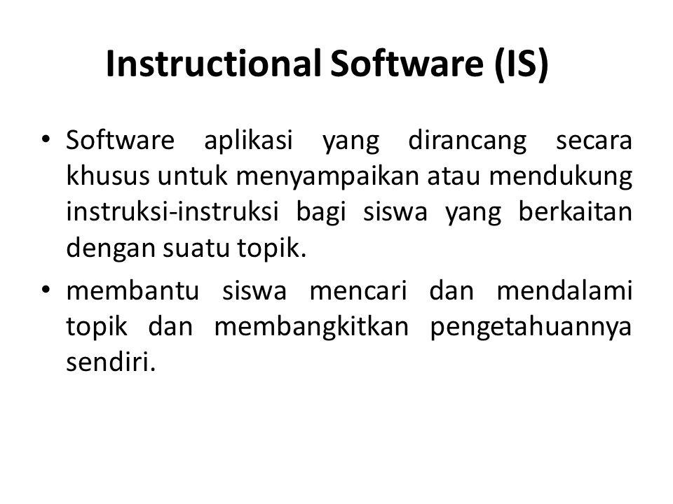 Instructional Software (IS)? Software aplikasi yang dirancang secara khusus untuk menyampaikan atau mendukung instruksi-instruksi bagi siswa yang berk