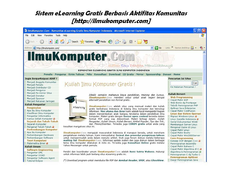 Sistem eLearning Gratis Berbasis Aktifitas Komunitas [http://ilmukomputer.com]