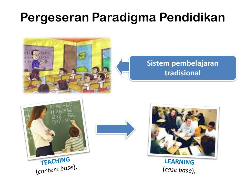 Pergeseran Paradigma Pendidikan Sistem pembelajaran tradisional TEACHING (content base), LEARNING (case base),