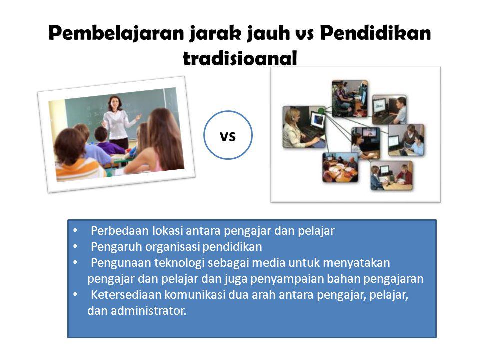 Pembelajaran jarak jauh vs Pendidikan tradisioanal Perbedaan lokasi antara pengajar dan pelajar Pengaruh organisasi pendidikan Pengunaan teknologi seb