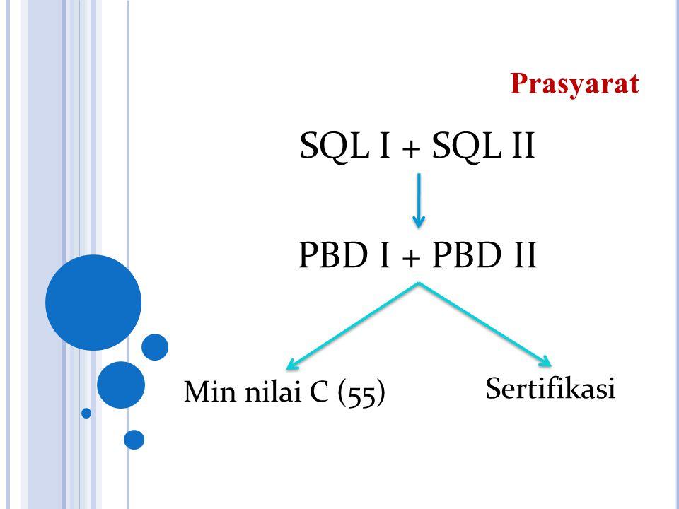 SQL I + SQL II Prasyarat Min nilai C (55) Sertifikasi PBD I + PBD II