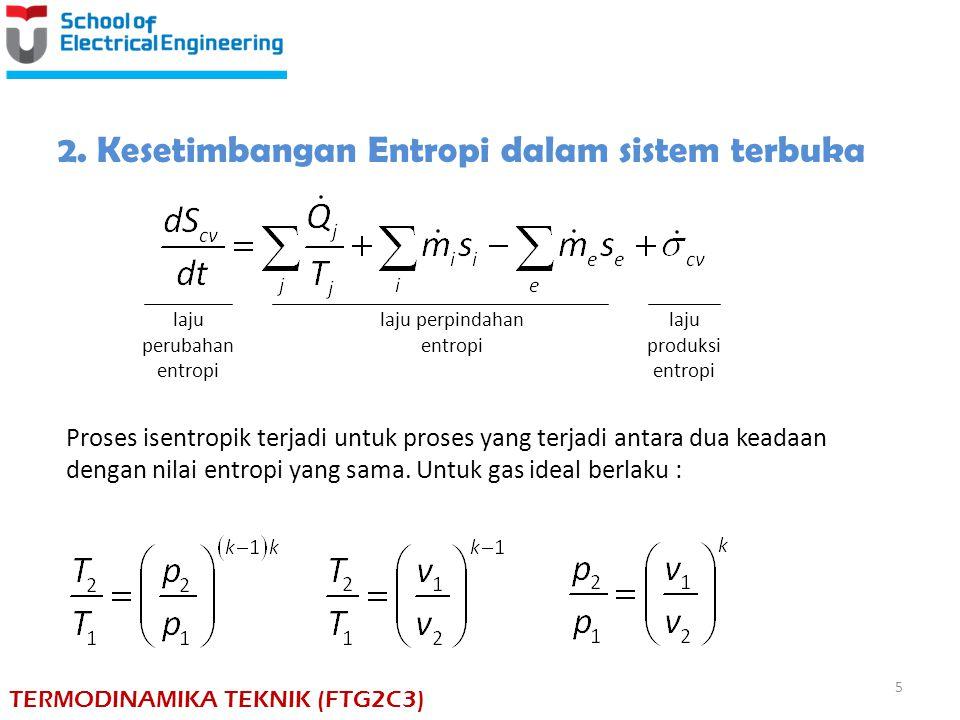 2. Kesetimbangan Entropi dalam sistem terbuka laju perubahan entropi laju perpindahan entropi laju produksi entropi Proses isentropik terjadi untuk pr