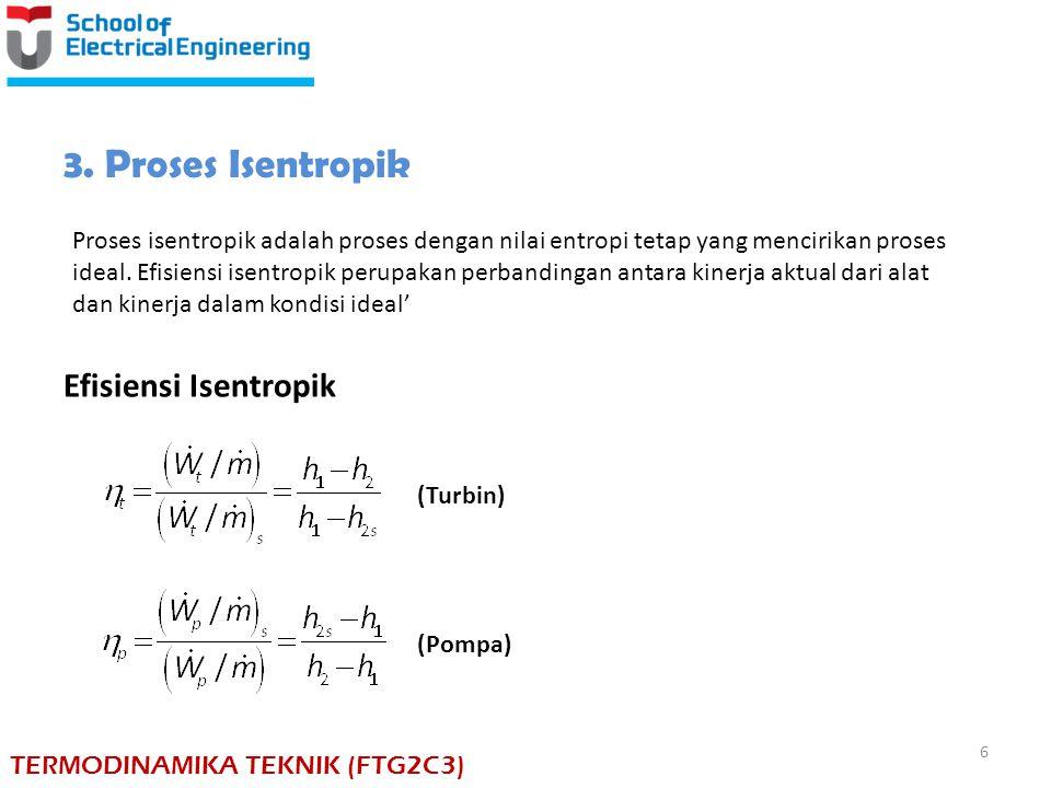 Efisiensi Isentropik (Turbin) (Pompa) 3. Proses Isentropik Proses isentropik adalah proses dengan nilai entropi tetap yang mencirikan proses ideal. Ef
