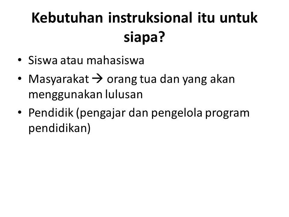 Kebutuhan instruksional itu untuk siapa? Siswa atau mahasiswa Masyarakat  orang tua dan yang akan menggunakan lulusan Pendidik (pengajar dan pengelol
