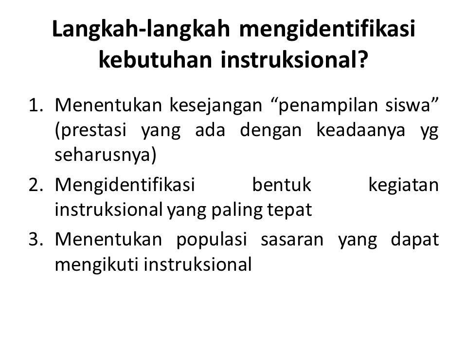 """Langkah-langkah mengidentifikasi kebutuhan instruksional? 1.Menentukan kesejangan """"penampilan siswa"""" (prestasi yang ada dengan keadaanya yg seharusnya"""