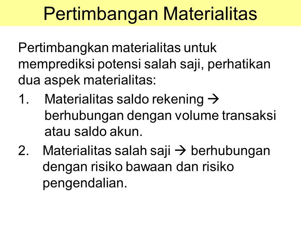 Pertimbangan Materialitas Pertimbangkan materialitas untuk memprediksi potensi salah saji, perhatikan dua aspek materialitas: 1.Materialitas saldo rek
