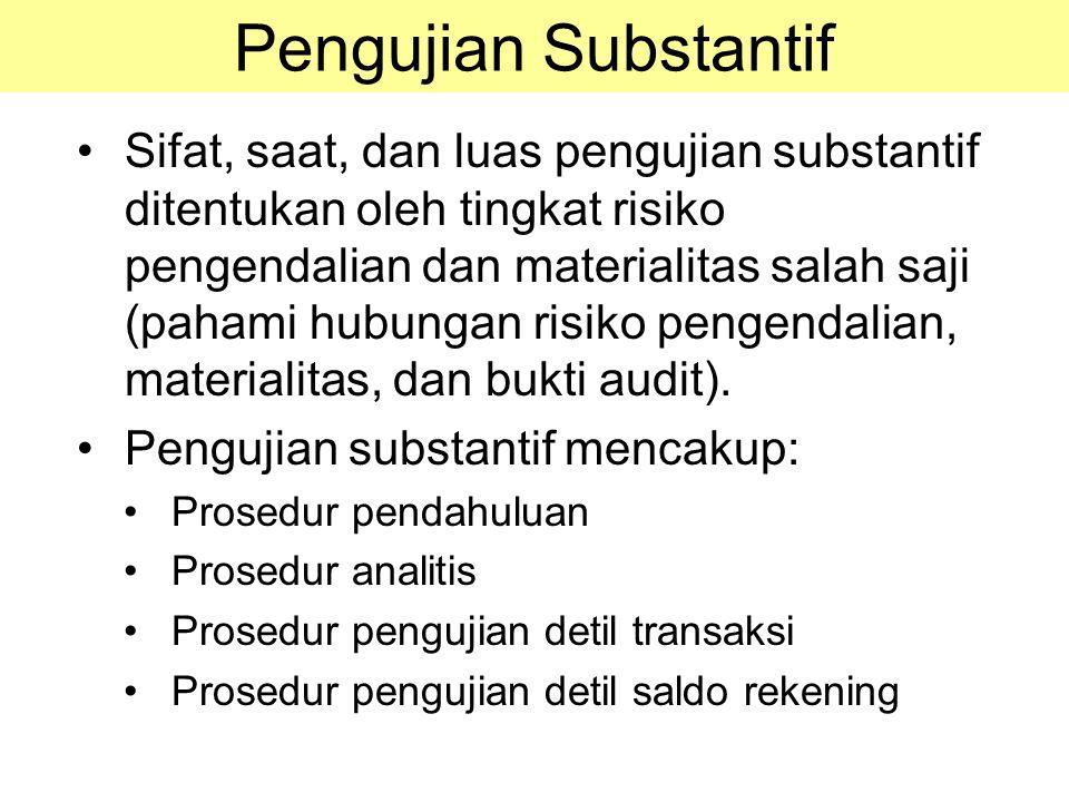 Pengujian Substantif Sifat, saat, dan luas pengujian substantif ditentukan oleh tingkat risiko pengendalian dan materialitas salah saji (pahami hubung