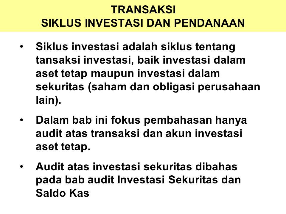 TRANSAKSI SIKLUS INVESTASI DAN PENDANAAN Siklus investasi adalah siklus tentang tansaksi investasi, baik investasi dalam aset tetap maupun investasi d