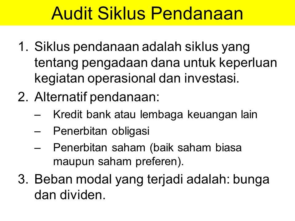 Audit Siklus Pendanaan 1.Siklus pendanaan adalah siklus yang tentang pengadaan dana untuk keperluan kegiatan operasional dan investasi. 2.Alternatif p
