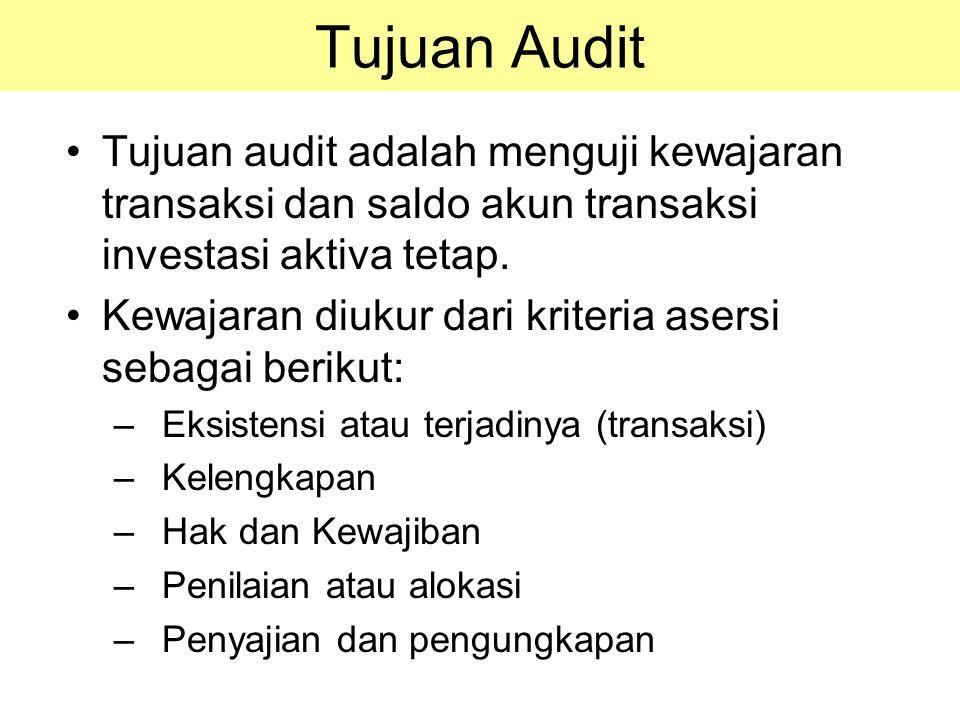 Tujuan Audit Tujuan audit adalah menguji kewajaran transaksi dan saldo akun transaksi investasi aktiva tetap. Kewajaran diukur dari kriteria asersi se