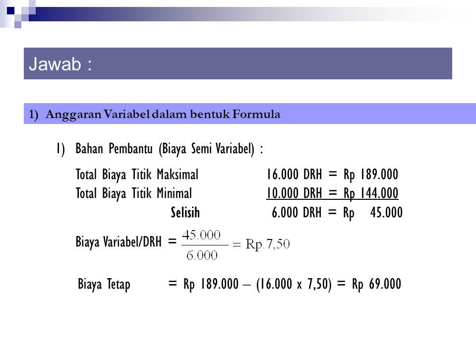 Jawab : 1) Anggaran Variabel dalam bentuk Formula 1) Bahan Pembantu (Biaya Semi Variabel) : Total Biaya Titik Maksimal16.000 DRH = Rp 189.000 Total Bi
