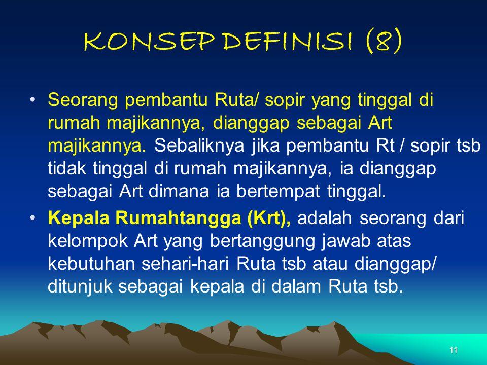11 KONSEP DEFINISI (8) Seorang pembantu Ruta/ sopir yang tinggal di rumah majikannya, dianggap sebagai Art majikannya. Sebaliknya jika pembantu Rt / s