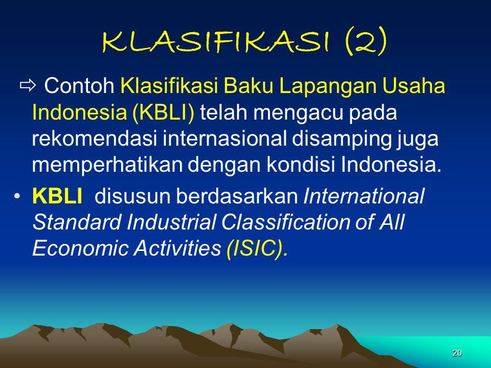 20 KLASIFIKASI (2)  Contoh Klasifikasi Baku Lapangan Usaha Indonesia (KBLI) telah mengacu pada rekomendasi internasional disamping juga memperhatikan