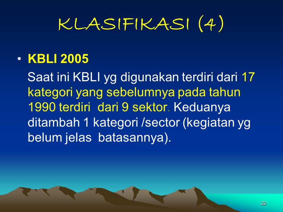 22 KLASIFIKASI (4) KBLI 2005 Saat ini KBLI yg digunakan terdiri dari 17 kategori yang sebelumnya pada tahun 1990 terdiri dari 9 sektor. Keduanya ditam