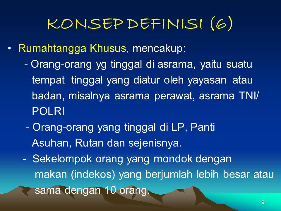 9 KONSEP DEFINISI (6) Rumahtangga Khusus, mencakup: - Orang-orang yg tinggal di asrama, yaitu suatu tempat tinggal yang diatur oleh yayasan atau badan