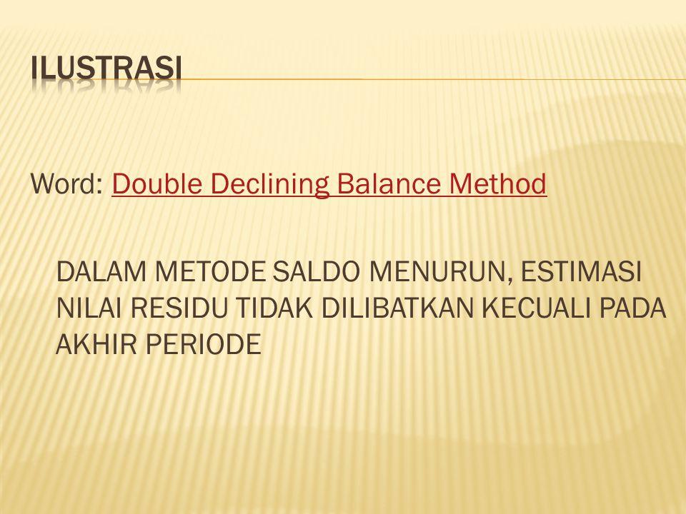 Word: Double Declining Balance MethodDouble Declining Balance Method DALAM METODE SALDO MENURUN, ESTIMASI NILAI RESIDU TIDAK DILIBATKAN KECUALI PADA A