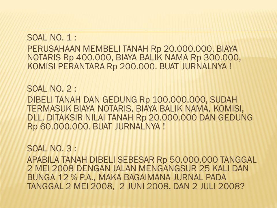 SOAL NO. 1 : PERUSAHAAN MEMBELI TANAH Rp 20.000.000, BIAYA NOTARIS Rp 400.000, BIAYA BALIK NAMA Rp 300.000, KOMISI PERANTARA Rp 200.000. BUAT JURNALNY