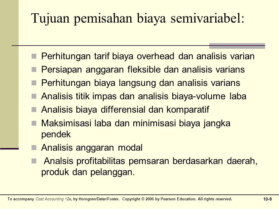 Tabel 1 Contoh Kasus Pemisahan Biaya Semi Variabel Bulan Biaya Reparasi dan Pemeliharaan Mesin Jam Mesin 1Rp.