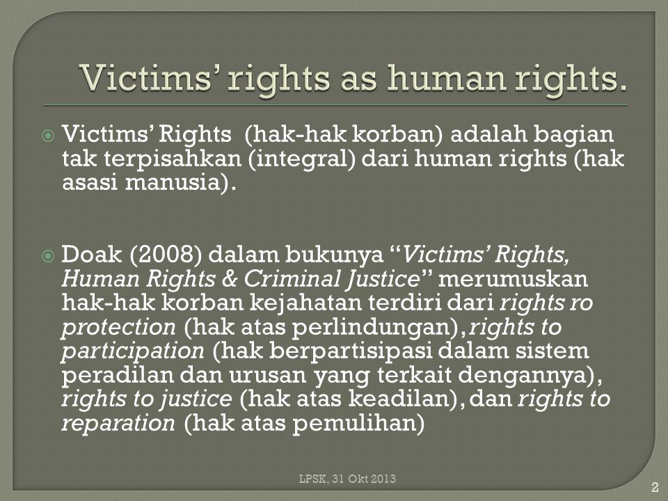  Victims' Rights (hak-hak korban) adalah bagian tak terpisahkan (integral) dari human rights (hak asasi manusia).