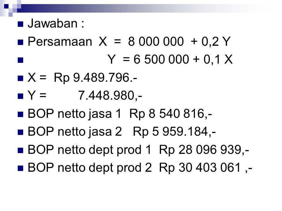 Jawaban : Persamaan X = 8 000 000 + 0,2 Y Y = 6 500 000 + 0,1 X X = Rp 9.489.796.- Y = 7.448.980,- BOP netto jasa 1 Rp 8 540 816,- BOP netto jasa 2 Rp