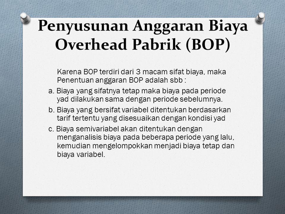 Penyusunan Anggaran Biaya Overhead Pabrik (BOP) Karena BOP terdiri dari 3 macam sifat biaya, maka Penentuan anggaran BOP adalah sbb : a. Biaya yang si