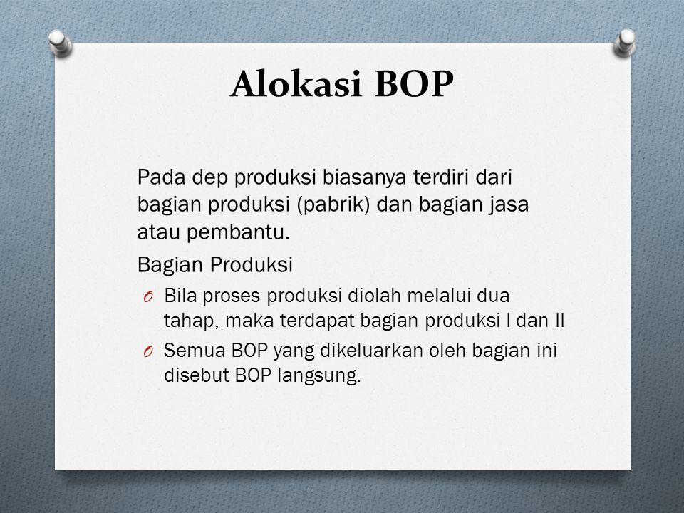 Alokasi BOP Pada dep produksi biasanya terdiri dari bagian produksi (pabrik) dan bagian jasa atau pembantu. Bagian Produksi O Bila proses produksi dio