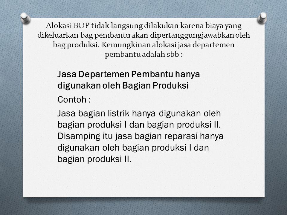 Alokasi BOP tidak langsung dilakukan karena biaya yang dikeluarkan bag pembantu akan dipertanggungjawabkan oleh bag produksi. Kemungkinan alokasi jasa