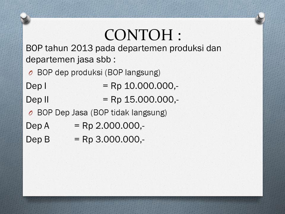 CONTOH : BOP tahun 2013 pada departemen produksi dan departemen jasa sbb : O BOP dep produksi (BOP langsung) Dep I= Rp 10.000.000,- Dep II= Rp 15.000.