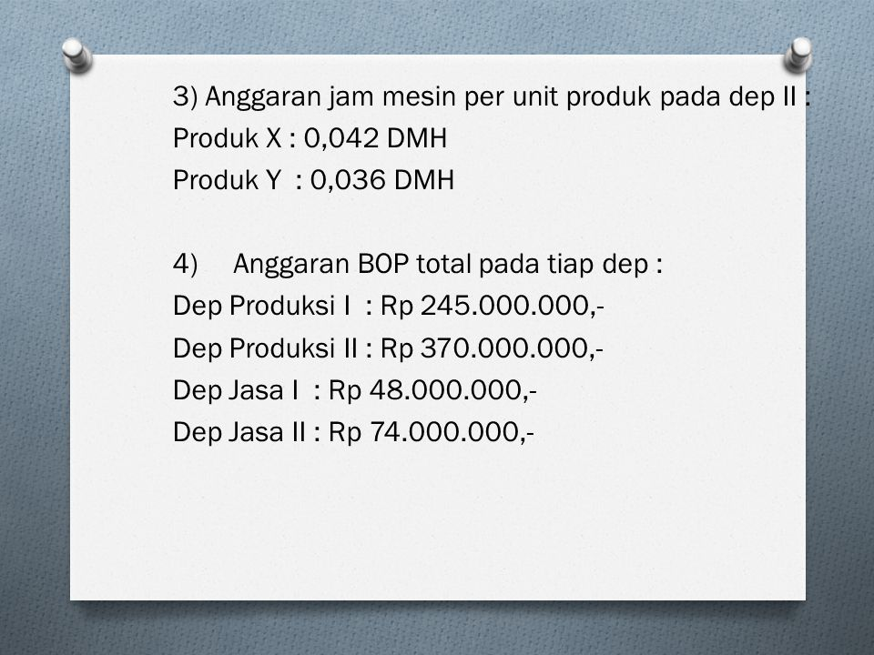 3) Anggaran jam mesin per unit produk pada dep II : Produk X : 0,042 DMH Produk Y : 0,036 DMH 4)Anggaran BOP total pada tiap dep : Dep Produksi I : Rp