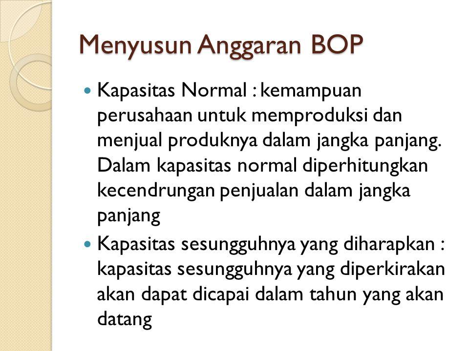 Menyusun Anggaran BOP Kapasitas Normal : kemampuan perusahaan untuk memproduksi dan menjual produknya dalam jangka panjang. Dalam kapasitas normal dip