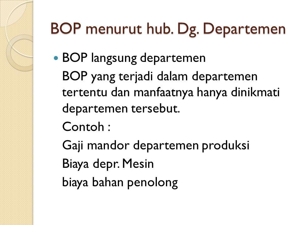 BOP menurut hub. Dg. Departemen BOP langsung departemen BOP yang terjadi dalam departemen tertentu dan manfaatnya hanya dinikmati departemen tersebut.