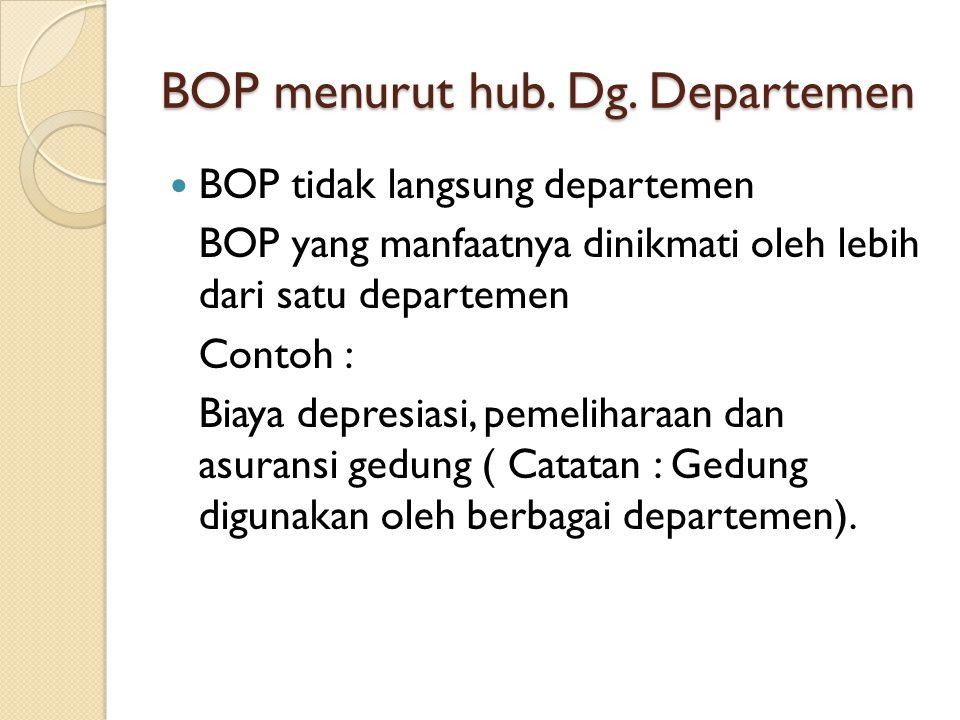BOP menurut hub. Dg. Departemen BOP tidak langsung departemen BOP yang manfaatnya dinikmati oleh lebih dari satu departemen Contoh : Biaya depresiasi,
