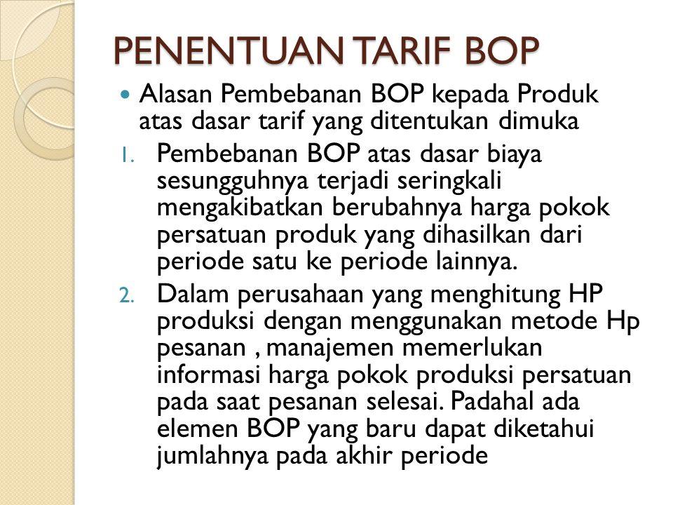 PENENTUAN TARIF BOP Alasan Pembebanan BOP kepada Produk atas dasar tarif yang ditentukan dimuka 1. Pembebanan BOP atas dasar biaya sesungguhnya terjad