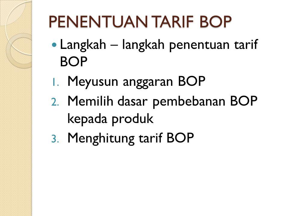 PENENTUAN TARIF BOP Langkah – langkah penentuan tarif BOP 1. Meyusun anggaran BOP 2. Memilih dasar pembebanan BOP kepada produk 3. Menghitung tarif BO