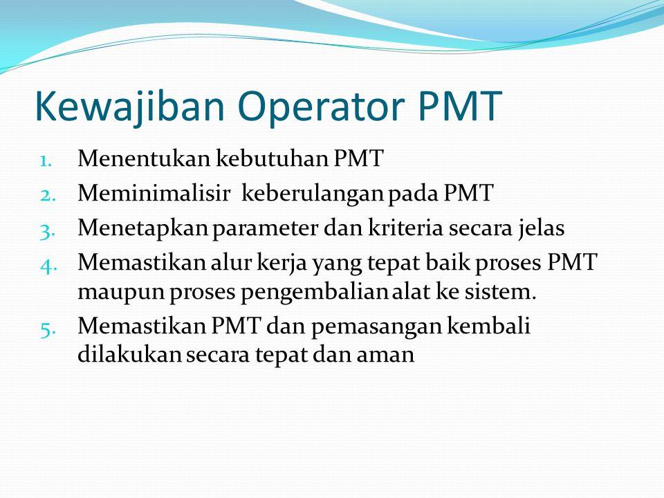 Kewajiban Operator PMT 1. Menentukan kebutuhan PMT 2. Meminimalisir keberulangan pada PMT 3. Menetapkan parameter dan kriteria secara jelas 4. Memasti