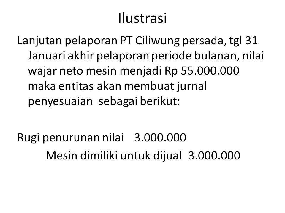 Ilustrasi Lanjutan pelaporan PT Ciliwung persada, tgl 31 Januari akhir pelaporan periode bulanan, nilai wajar neto mesin menjadi Rp 55.000.000 maka en