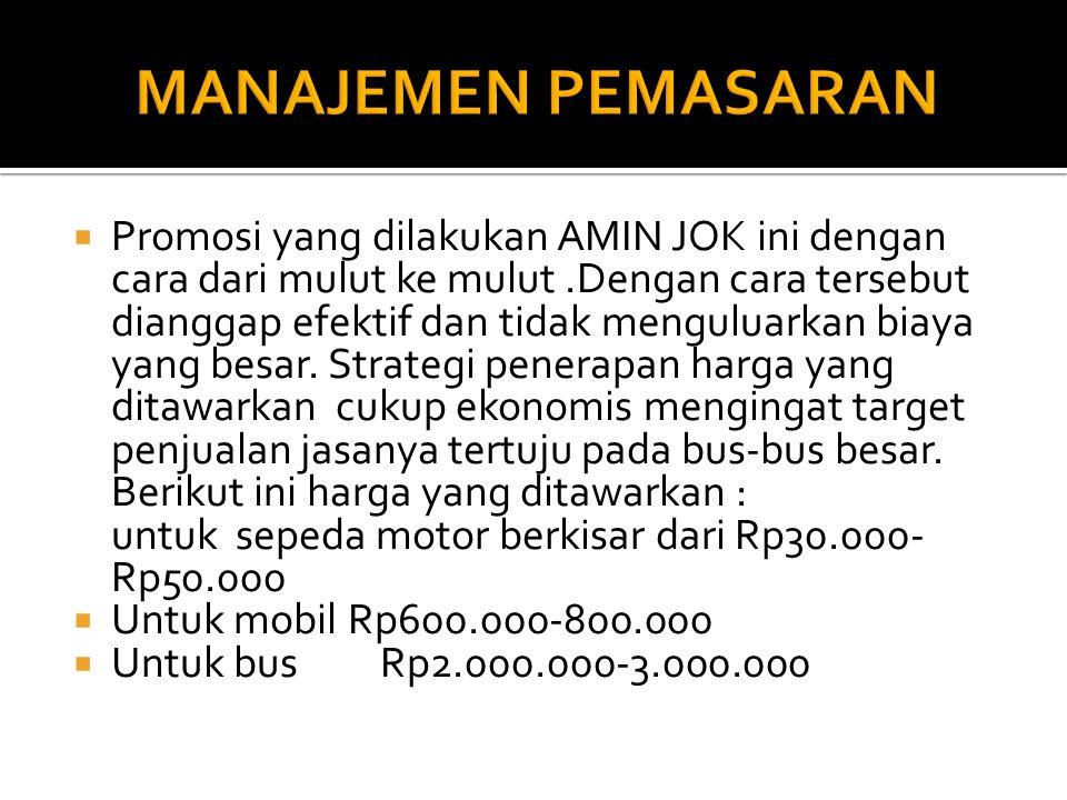  Promosi yang dilakukan AMIN JOK ini dengan cara dari mulut ke mulut.Dengan cara tersebut dianggap efektif dan tidak menguluarkan biaya yang besar.