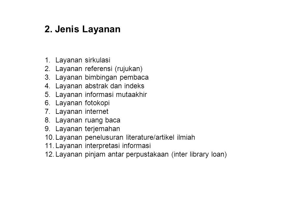 1.Layanan sirkulasi 2.Layanan referensi (rujukan) 3.Layanan bimbingan pembaca 4.Layanan abstrak dan indeks 5.Layanan informasi mutaakhir 6.Layanan fot