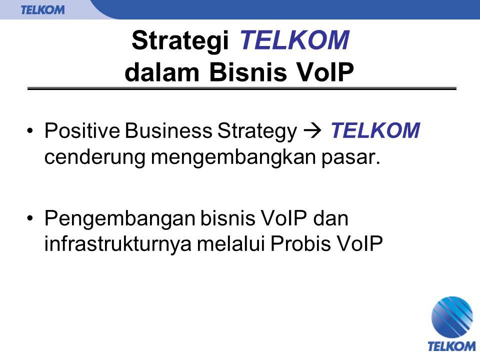 Strategi TELKOM dalam Bisnis VoIP Positive Business Strategy  TELKOM cenderung mengembangkan pasar. Pengembangan bisnis VoIP dan infrastrukturnya mel
