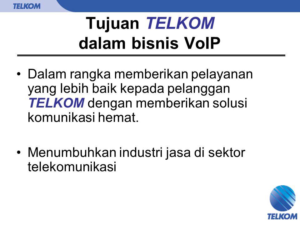 Tujuan TELKOM dalam bisnis VoIP Dalam rangka memberikan pelayanan yang lebih baik kepada pelanggan TELKOM dengan memberikan solusi komunikasi hemat. M