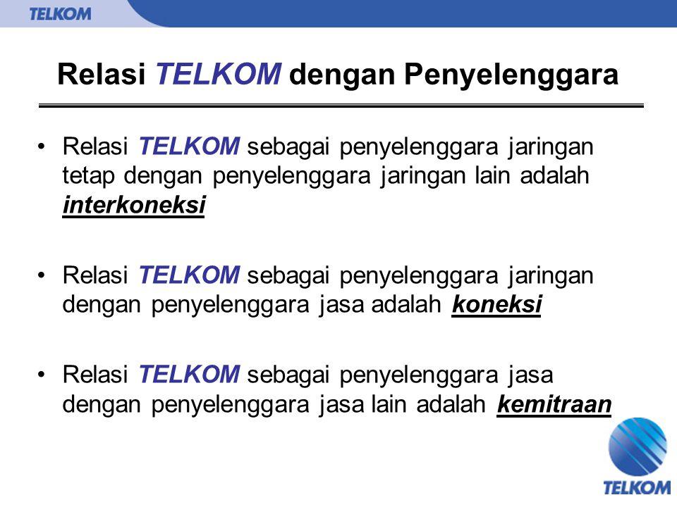 Relasi TELKOM dengan Penyelenggara Relasi TELKOM sebagai penyelenggara jaringan tetap dengan penyelenggara jaringan lain adalah interkoneksi Relasi TE