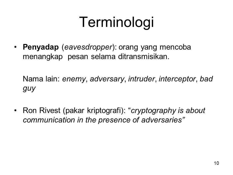 10 Terminologi Penyadap (eavesdropper): orang yang mencoba menangkap pesan selama ditransmisikan. Nama lain: enemy, adversary, intruder, interceptor,